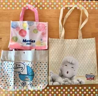 🚚 全新提袋3個99《雀巢、滿意寶寶、妙而舒》帆布袋、購物袋、尿布袋