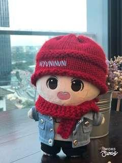 Red Beanie and Scarf for 20cm doll