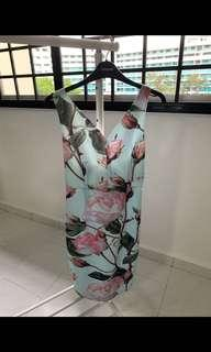 INSTOCK Ladies Floral Oriental Roses Printed OL Office Work Dress