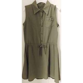 🚚 Army Green Collared SleevelessDress