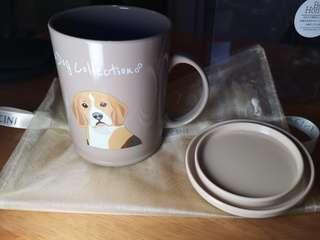 日本品牌膠杯連蓋~印有可愛狗狗圖案