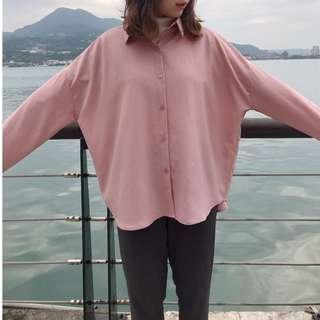 現貨 粉嫩戀愛雪紡襯衫 襯衫 簡約 百搭 襯衣 上衣 上身 穿搭