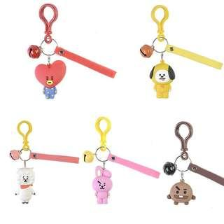 Kpop BTS BT21 Cartoon Car Keychain Tata V Acrylic Keyring Key Holder Bag Pendant
