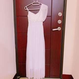 女神風純白長洋裝