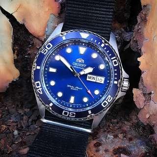 [BNIB] Orient Ray II Blue Dial Automatic Power Reserve 200M FAA02005D9 Mens Watch