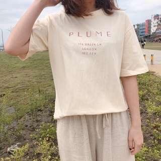 現貨 可愛奶油色字母上衣 奶油色 字母 上衣 短袖 韓系 女裝 百搭 穿搭 T恤