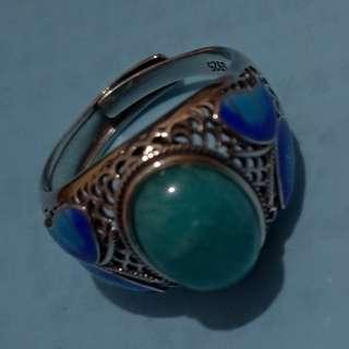 蘇聯藍寶天河石925銀戒指