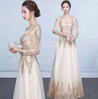 White gold dinner dress Rent