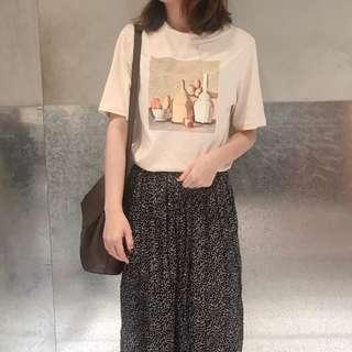 現貨 我是油畫小畫家 上衣 短袖 圖案T T恤 夏季 百搭 女裝 穿搭