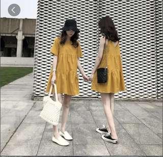 Yellow Muji Inspired tier dress