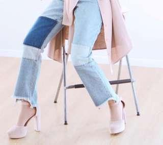 Calaqisya patched jeans