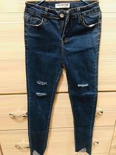 🚚 全新褲管切角牛仔褲