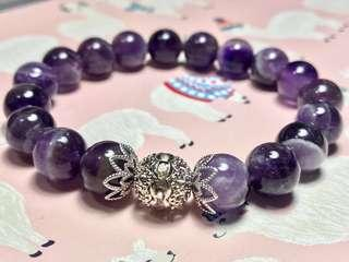 10mm 天然紫水晶手鏈 / 10mm Natural Purple Amethyst & Rhinestone Beaded Stretchy Bracelet