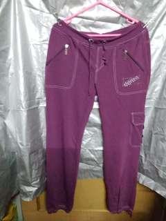 紫色閃石闊腳休閒褲