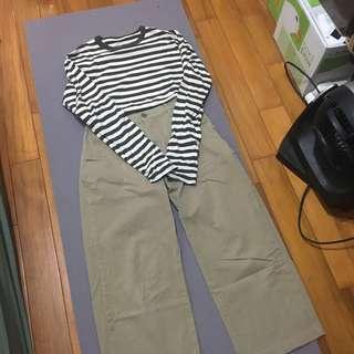 無印良品)綾織卡其直筒寬褲