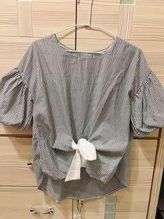 🚚 條紋澎袖綁帶短袖上衣