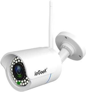 Bullet IP Camera Outdoor -ieGeek Waterproof Home Security Surveillance  - Black