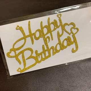 Happy Birthday with Mini Hearts Cake Toppers in Gold