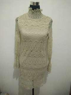 Korean Nude lace dress