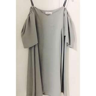 🚚 Off Shoulder Grey Dress