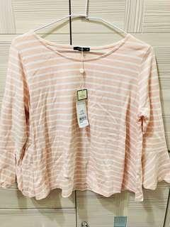 🚚 PAZZO全新粉色底白條紋七分袖上衣 有吊牌