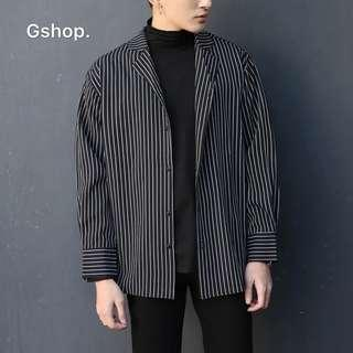 條紋襯衫男長袖休閒寬鬆帥氣學生外套黑色襯衫