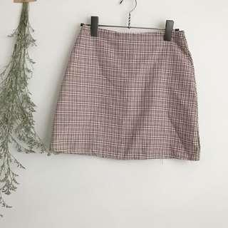 Pink vintage Checkered A line Skirt