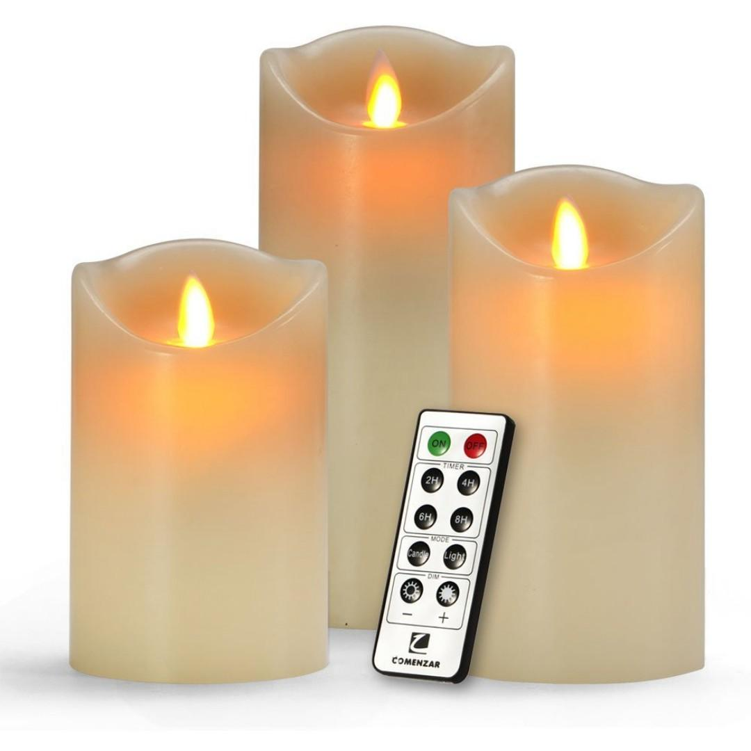 "Flameless Candles H 5/"" 6/"" 7/"" x D3 Battery Operated Ca Battery Candles Set of 3"