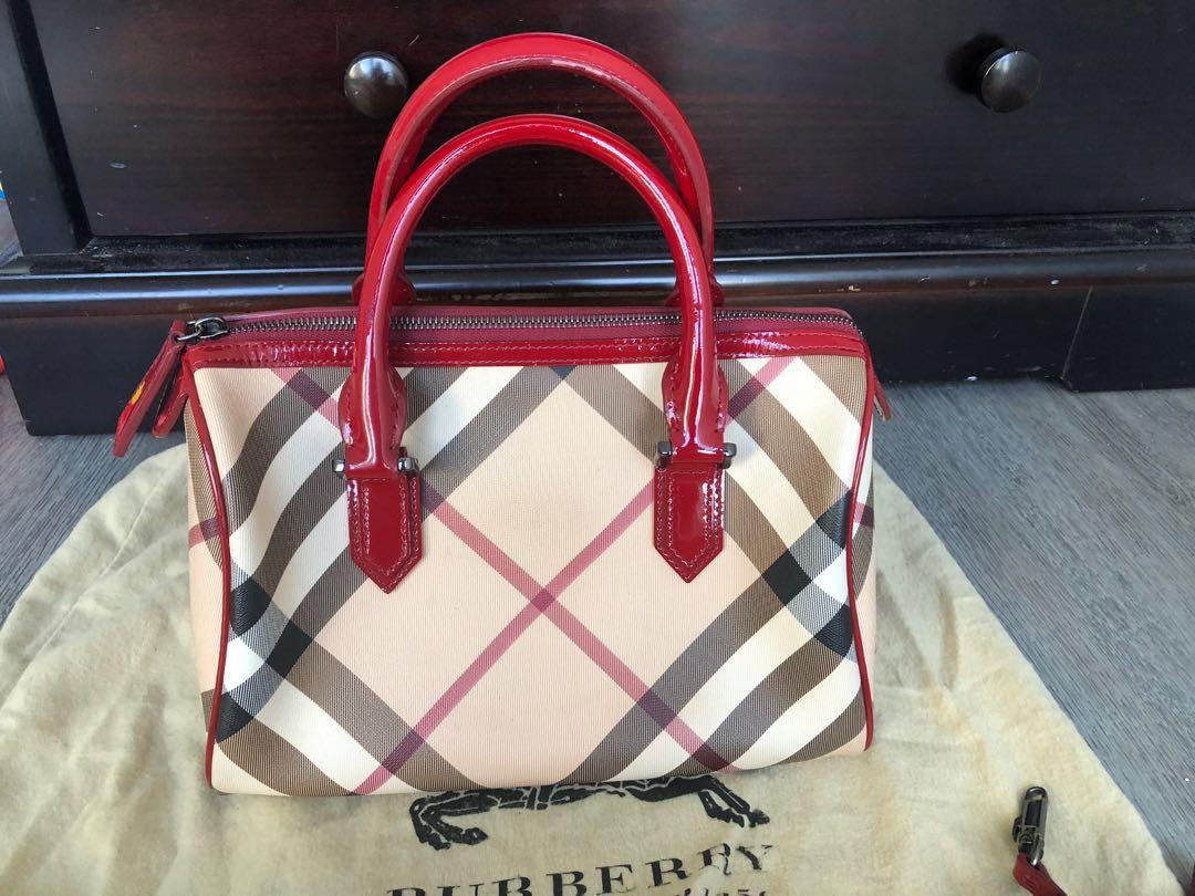 Authentic Burberry raspberry sorbet bowling bag