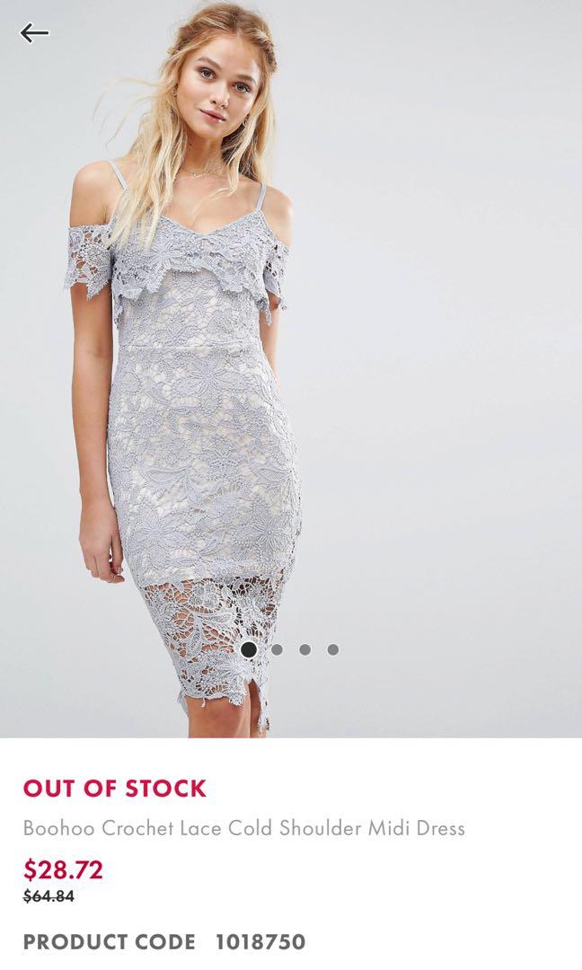 d8451367f9d4 Boohoo Crochet Lace Midi Dress, Women's Fashion, Clothes, Dresses ...