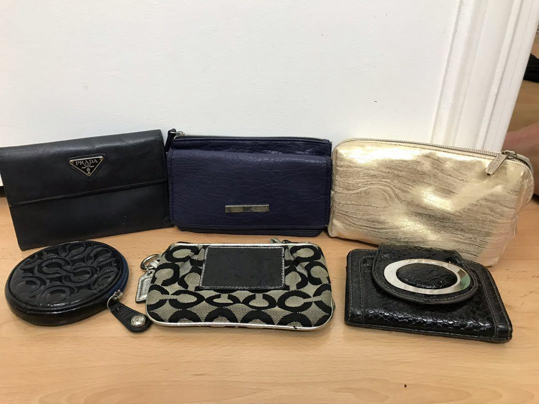 65aef7a62b61 Bundle assorted authentic prada wallet, coach wristlet, coach coinpurse,  kenneth cole wallet, bare minerals pouch and snakeskin wallet on Carousell