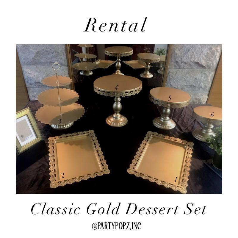 ⚜️Classic Gold Dessert Trays / Stands [ RENTAL ]