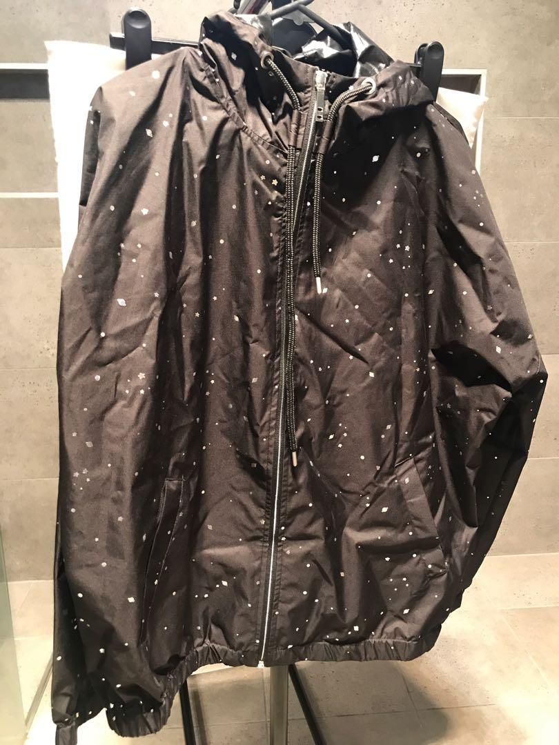 Cotton On Black Wind Breaker Jacket with Galaxy Detail