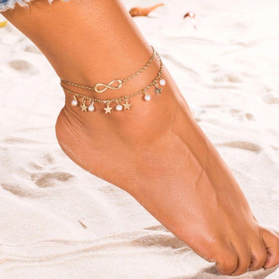 Double Layer Stars and pearls , Infinitive Symbol Anklet
