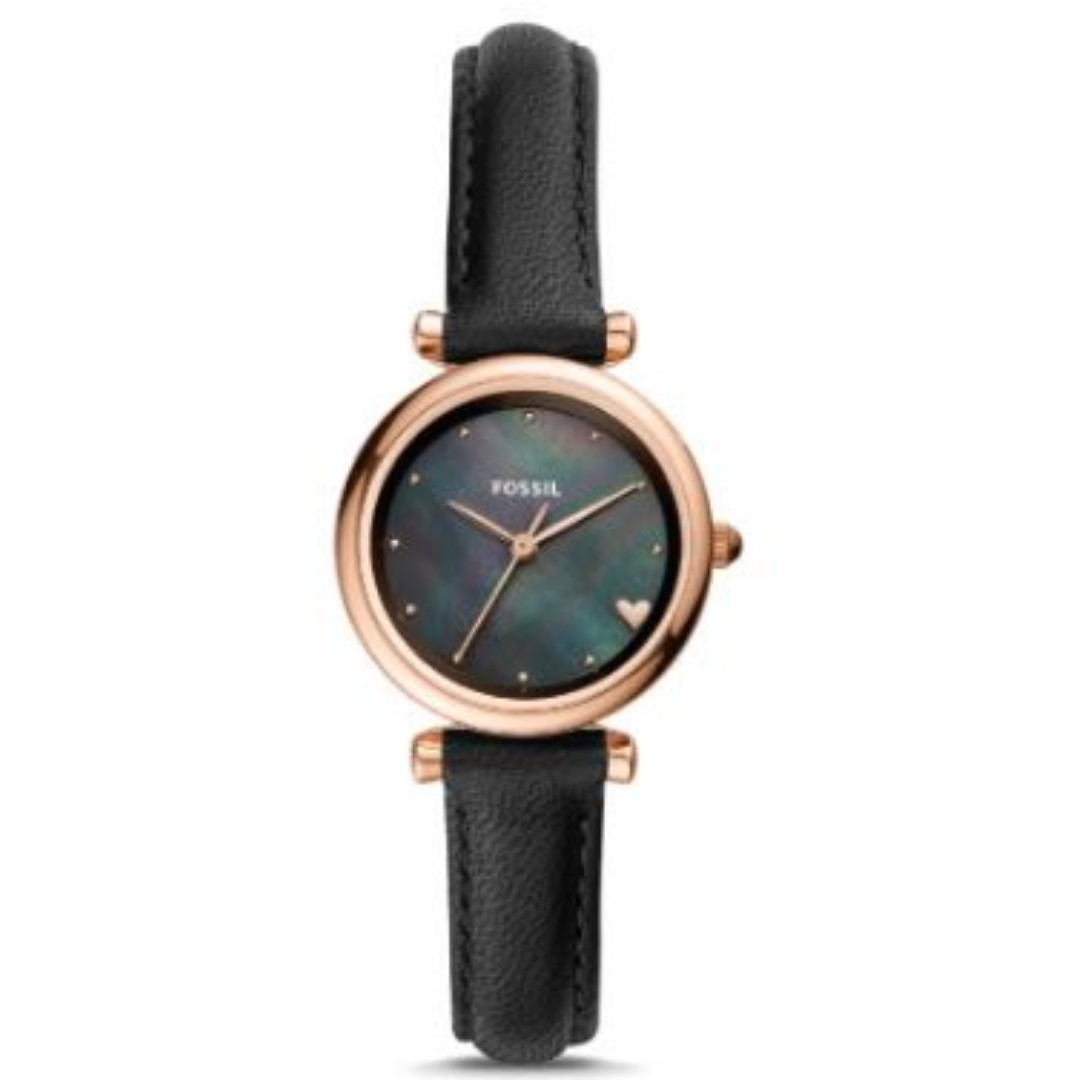 207a09db5ad6 FOSSIL CARLIE MINI THREE-HAND BLACK LEATHER WATCH ES4504   Fossil ...