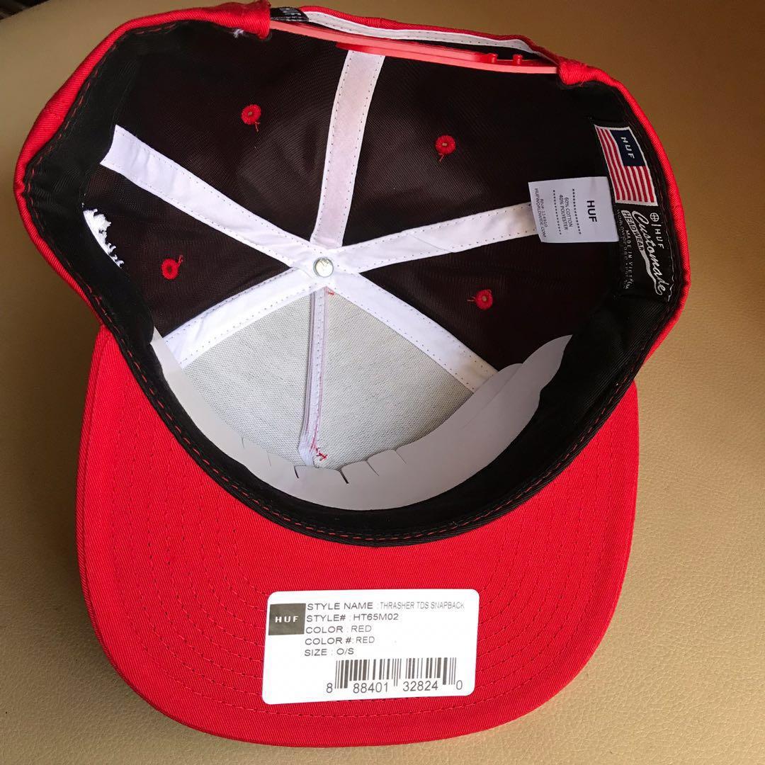 4747e11a HUF X Thrasher Snapback Original RED cap / topi #shero, Men's Fashion,  Accessories, Caps & Hats on Carousell