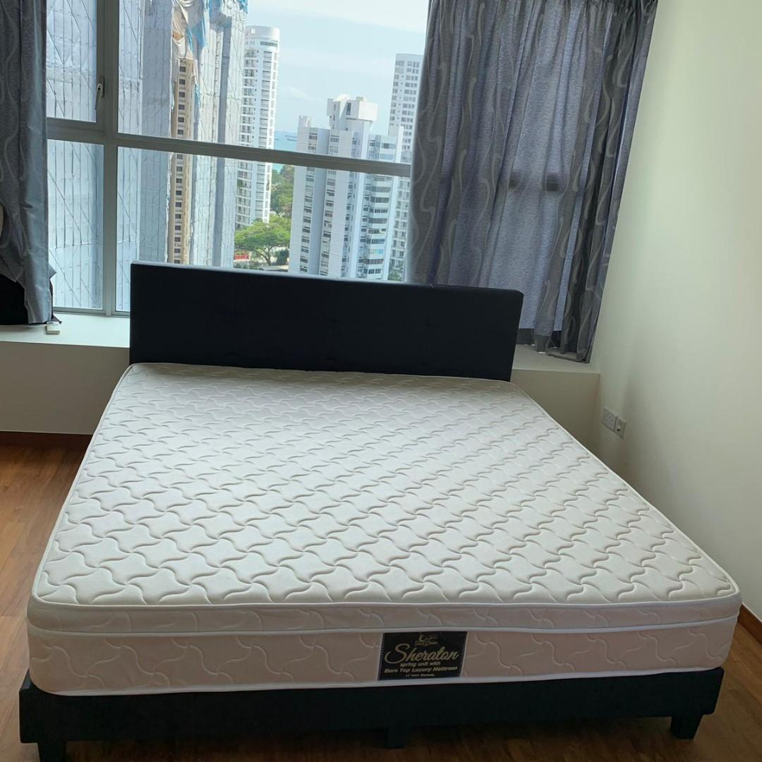 King Size Bed Frame Headboard With Mattress At Half Price Furniture Beds Mattresses On Carousell