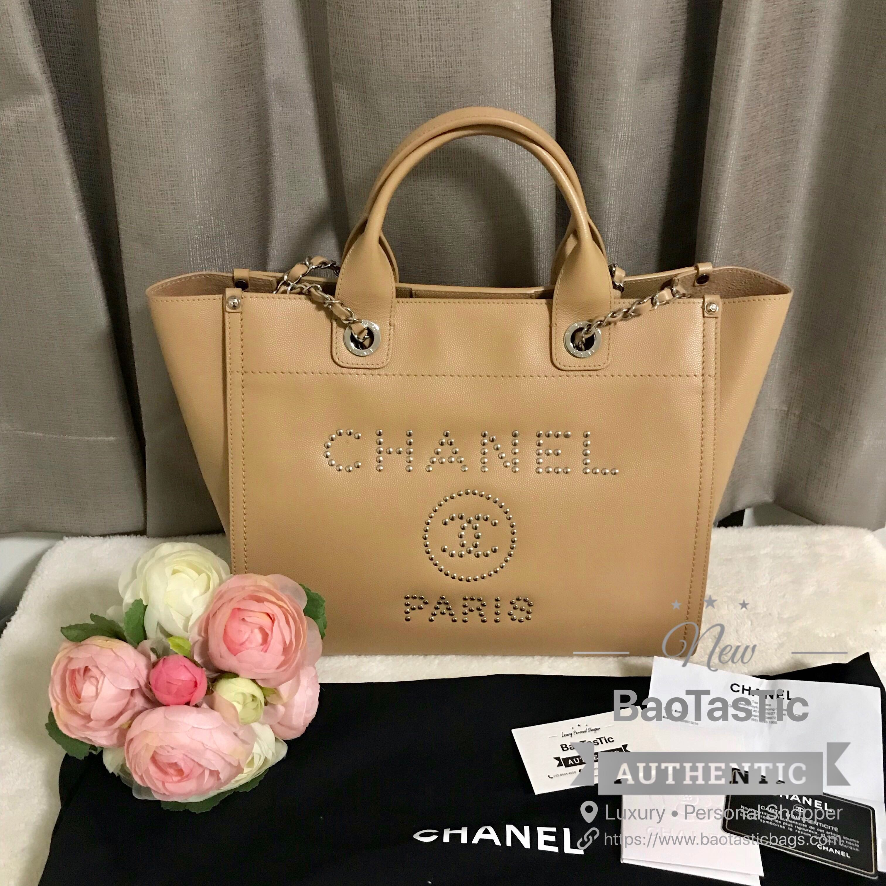eaf041e3bb73 Like New🦄 Chanel Small Leather Deauville Tote Beige, Luxury, Bags ...