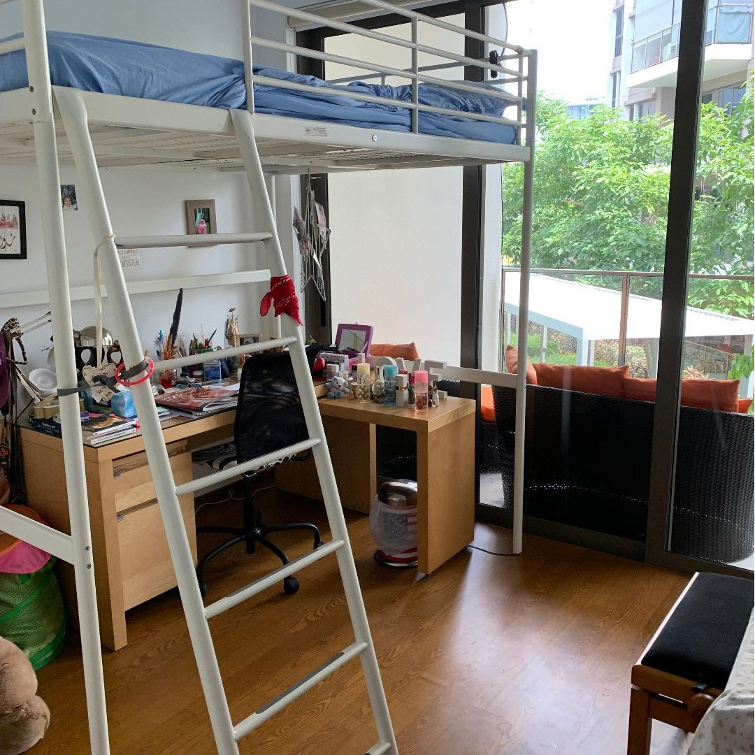 Picture of: Loft Double Bed Frame White Colour Mattress Ikea Svarta Furniture Beds Mattresses On Carousell