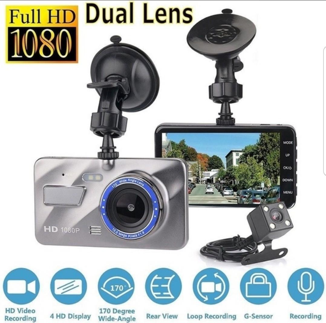 "4/"" HD 1080P Dual Lens Rearview Car DVR Camera Video Recorder Dash Cam G-Sensor"