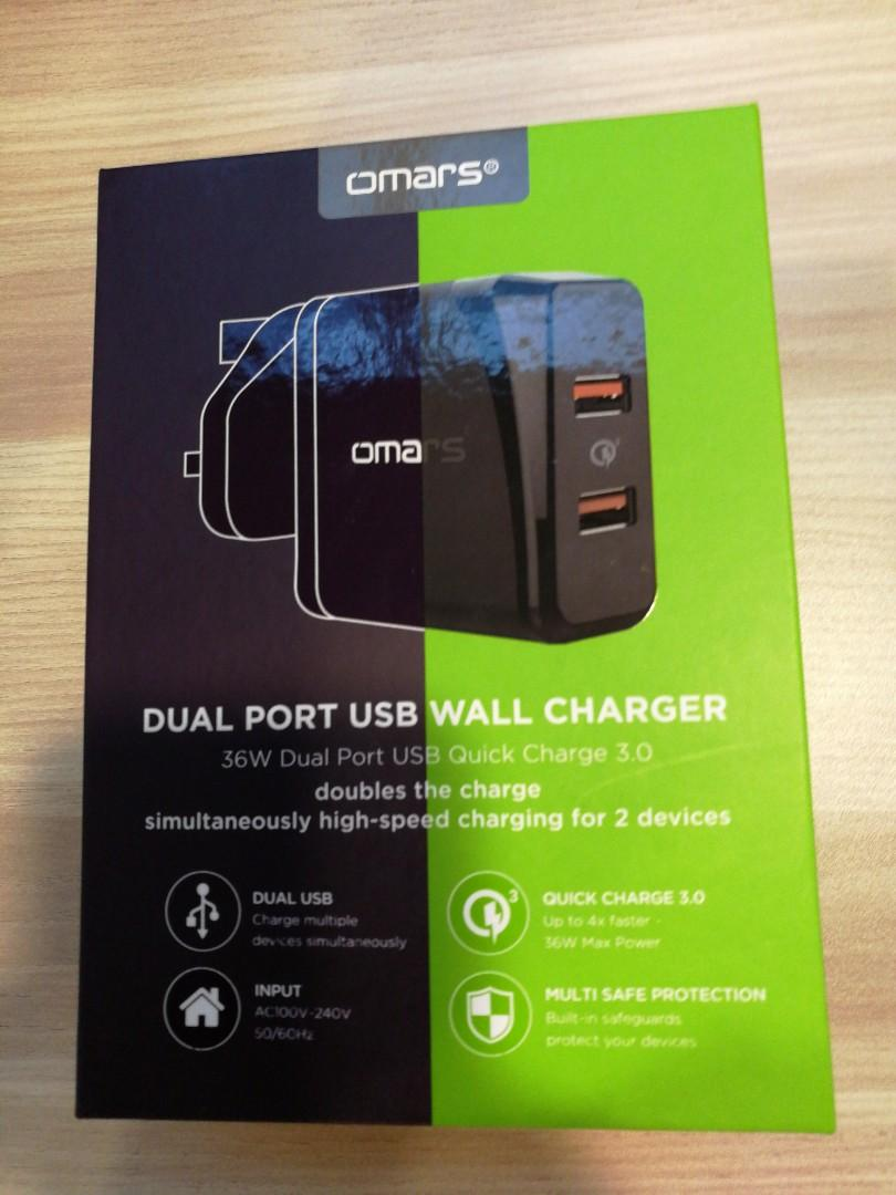 Omars AC40BK Quick Charger 3.0 Dual Ports (Black)