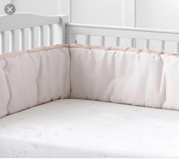 Pottery barn Monique Lhuillier pink crib bumper and skirt set