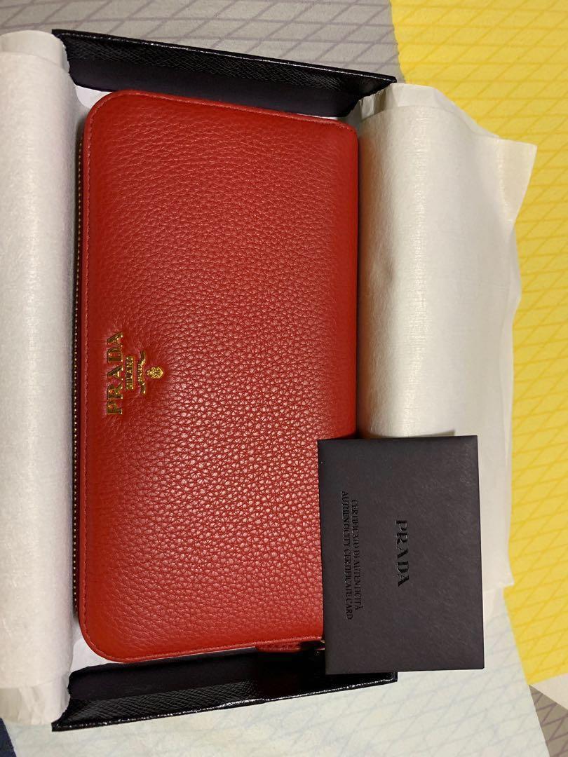 369ee63f0e0d Prada Vitello Grain Red Colour Authentic Women Wallet, Women's ...
