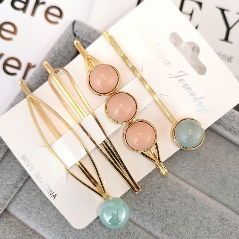 PRE-ORDER Brand New Pearl Gold Metal Marble Hairpin Hairclip 4pc Set