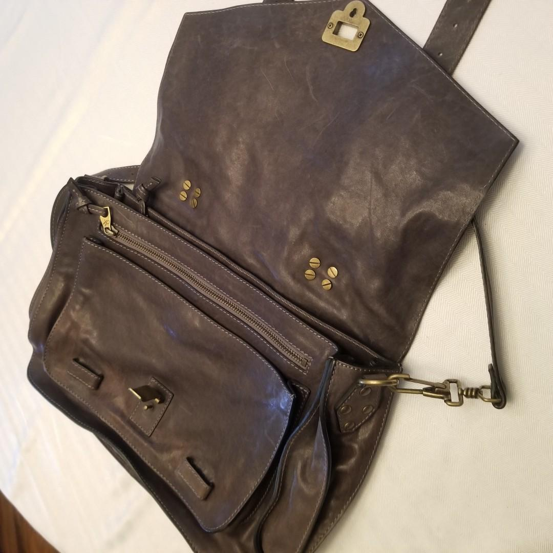 Proenza Schoeler PS1 Medium Leather Shoulder Bag (Smoke) in Like New Condition