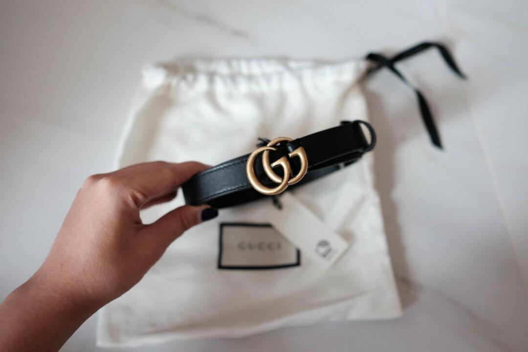 READY Gucci GG Marmont Belt 2cm Woman Black 75cm 80cm Dan 85cm  5,550,000