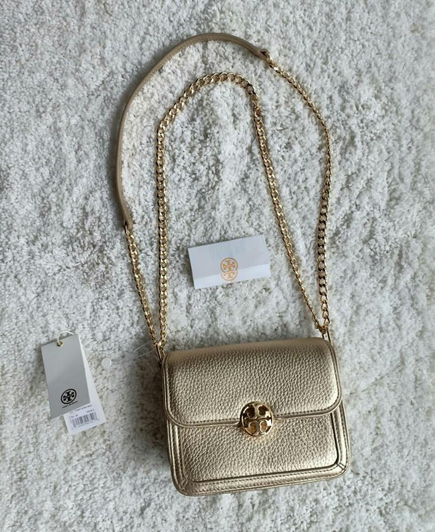 Ready TB duet micro shoulder gold bag size 16.5x12x8cm with tag n giftrec  3.350.000