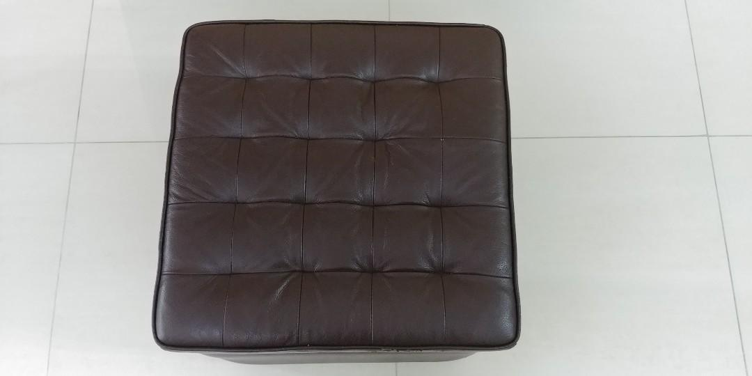 Seahorse Brown Leather Foot Stool