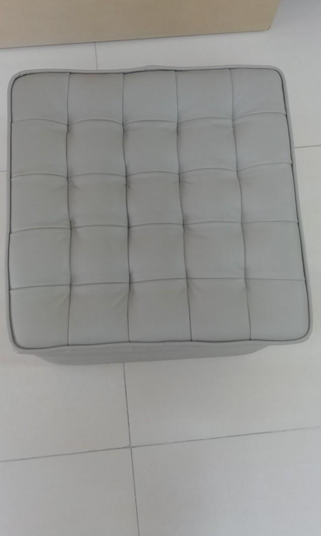 Seahorse Light Grey Leather Foot Stool