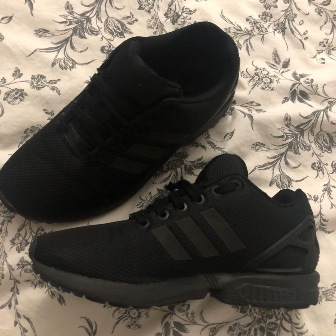 sports shoes 16186 48876 Triple Black ZX Flux, Women's Fashion, Shoes on Carousell
